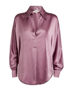 Silk Open-Collar Blouse