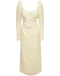 Stretch Silk Midi Dress W/ Knot Detail