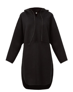 Hooded wool-blend pullover coat