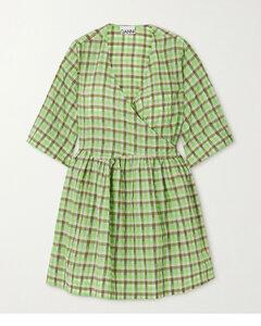Net Sustain Checked Organic Cotton-blend Seersucker Wrap Dress