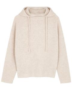 Oatmeal hooded cashmere jumper