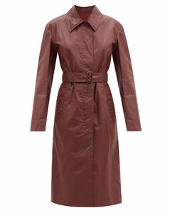 Single-breasted coated cotton-canvas trench coat