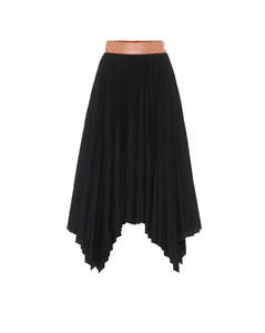 褶裥棉质混纺半身裙