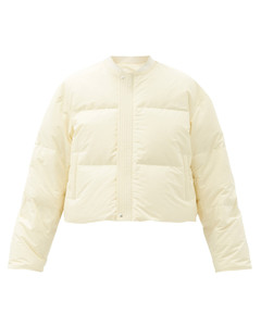 Reversible water-repellent quilted bomber jacket