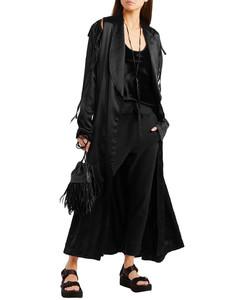 Cutout lace-up cotton-blend satin coat