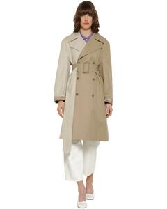 Bicolor Cotton Gabardine Trench Coat