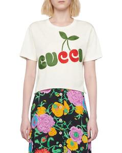 cherry print cotton t-shirt