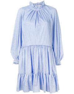 條紋長袖連衣裙