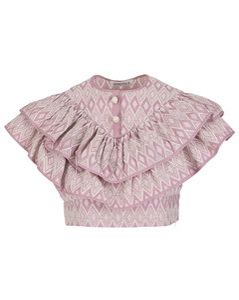 Rosie tiered floral-jacquard midi skirt