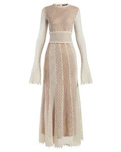 Faux-pearl trimmed macramé-lace gown