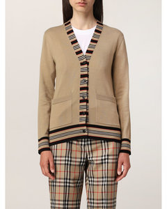 wool cardigan with striped profiles