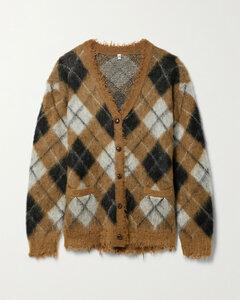 Distressed Argyle Jacquard-knit Cardigan