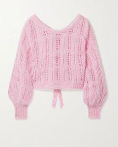 Eugenia蝴蝶结缀饰金属感镂空针织短款毛衣