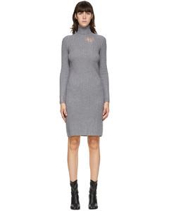 灰色Destroyed羊毛高领连衣裙