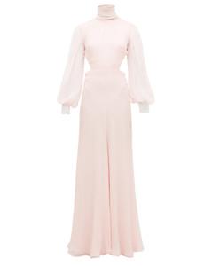 High-neck open-back silk-chiffon gown