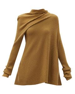 Asymmetric ribbed merino-wool sweater
