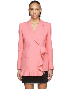粉色荷葉邊連衣裙