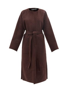 Oma collarless belted wool-blend coat