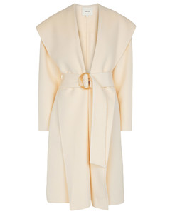 Hooded wool and cashmere coat