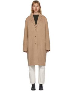 黄褐色羊毛单排扣大衣