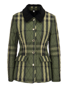 Lydd A21 - Wool Blend Quilted Jacket With Tartan Pattern