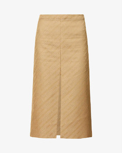 Brand-patterned high-rise cotton-blend skirt