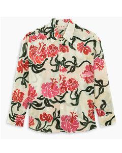 White floral-print shirt