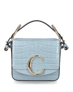 Shoulder bag ChloéC MINI calfskin embossed blue