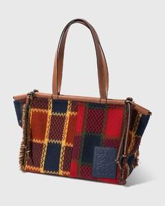 Cushion Tote bag In Tartan And Calfskin