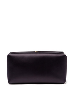 Chain-strap padded satin clutch