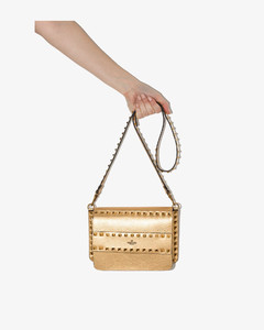 Garavani - Gold Tone Rockstud Small Leather Cross Body Bag