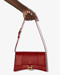 red Hourglass sling leather shoulder bag