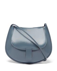 Logo-embossed small leather shoulder bag