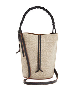 Anagram Linen and Leather Gate Bucket Bag