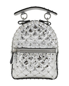 Mini Spike Laminated Leather Backpack