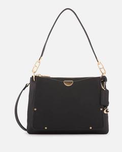 Women's Mixed Leather Dreamer Shoulder Bag - Black