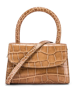 Mini Croco Embossed Leather Bag in Animal Print,Neutral