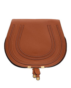 Handbag MARCIE SATTLE Calfskin logo brown