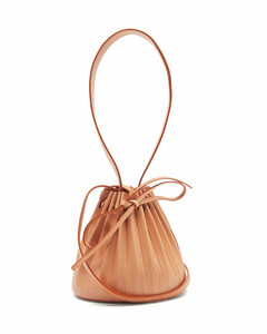 Pleated mini leather bucket bag