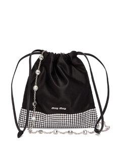 Crystal-embellished satin cross-body bag