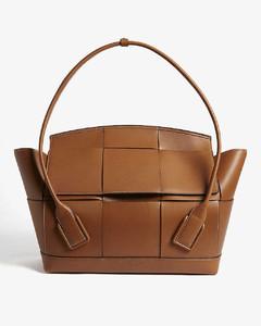 Arco trapeze woven medium leather shoulder bag