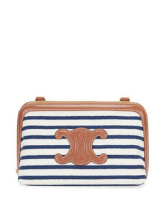 Clutch with Chain in Striped Textile