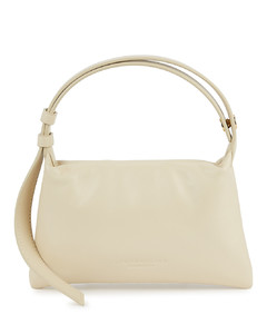 Puffin mini ivory leather top handle bag