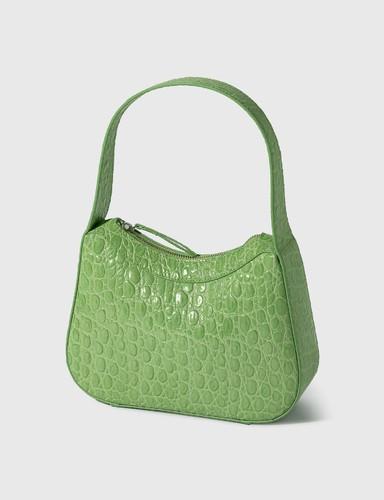 Kiki Pistachio Circular Croco Embossed Leather Shoulder Bag