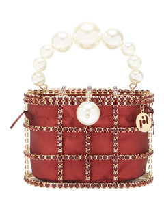 Holli faux-pearl, crystal and satin bag