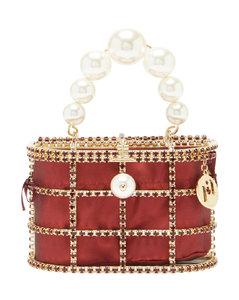 Holli crystal-embellished cage handbag