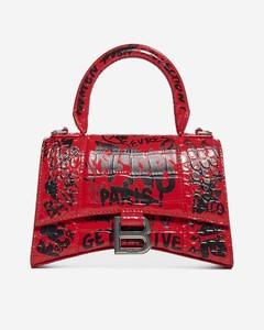 Graffiti-print Hourglass XS croco leather bag