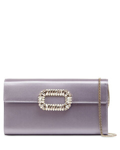 Crystal Buckle Satin Envelope Clutch
