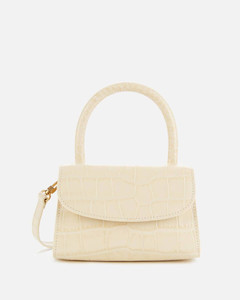 Women's Mini Croco Top Handle Bag - Cream