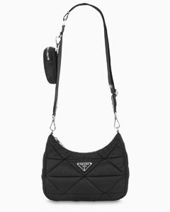 Black nylon quilted bag